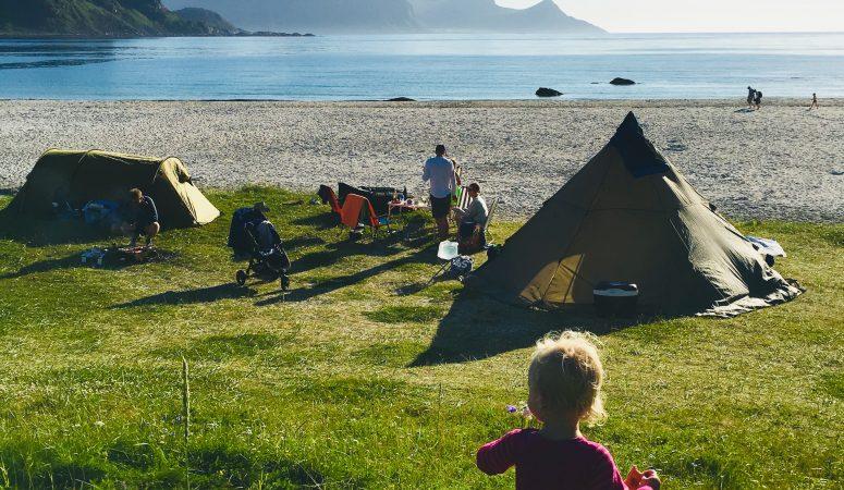 Camping på Hauklandstranda i Lofoten