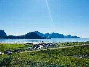 Hauklandstranda i Vestvågøy en sommerdag